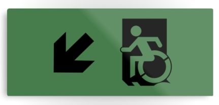 Accessible Means of Egress Icon Exit Sign Wheelchair Wheelie Running Man Symbol by Lee Wilson PWD Disability Emergency Evacuation Metal Printed 61