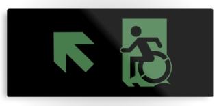 Accessible Means of Egress Icon Exit Sign Wheelchair Wheelie Running Man Symbol by Lee Wilson PWD Disability Emergency Evacuation Metal Printed 62