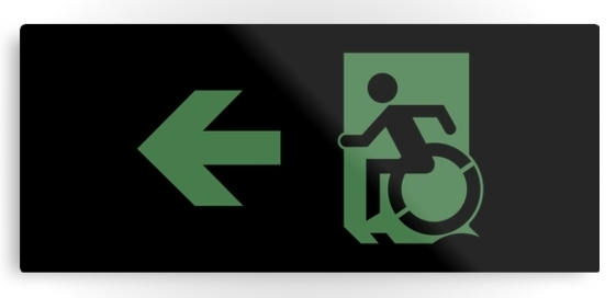 Accessible Means of Egress Icon Exit Sign Wheelchair Wheelie Running Man Symbol by Lee Wilson PWD Disability Emergency Evacuation Metal Printed 63