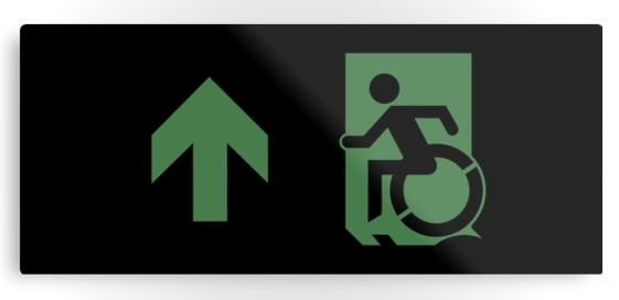 Accessible Means of Egress Icon Exit Sign Wheelchair Wheelie Running Man Symbol by Lee Wilson PWD Disability Emergency Evacuation Metal Printed 64