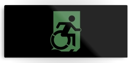 Accessible Means of Egress Icon Exit Sign Wheelchair Wheelie Running Man Symbol by Lee Wilson PWD Disability Emergency Evacuation Metal Printed 65