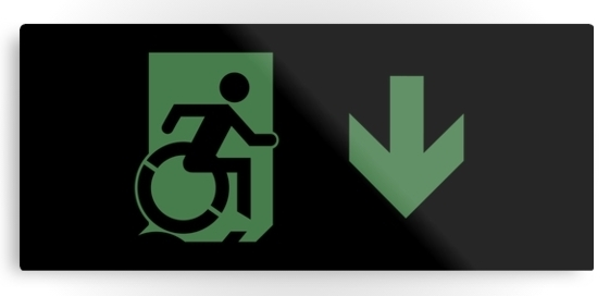 Accessible Means of Egress Icon Exit Sign Wheelchair Wheelie Running Man Symbol by Lee Wilson PWD Disability Emergency Evacuation Metal Printed 66
