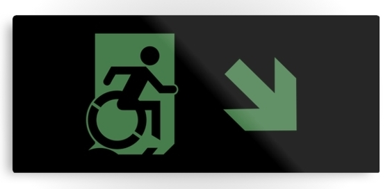 Accessible Means of Egress Icon Exit Sign Wheelchair Wheelie Running Man Symbol by Lee Wilson PWD Disability Emergency Evacuation Metal Printed 67