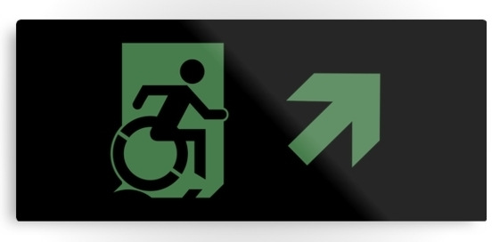 Accessible Means of Egress Icon Exit Sign Wheelchair Wheelie Running Man Symbol by Lee Wilson PWD Disability Emergency Evacuation Metal Printed 68