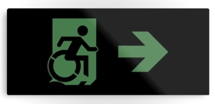 Accessible Means of Egress Icon Exit Sign Wheelchair Wheelie Running Man Symbol by Lee Wilson PWD Disability Emergency Evacuation Metal Printed 69