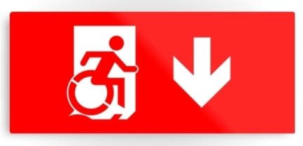 Accessible Means of Egress Icon Exit Sign Wheelchair Wheelie Running Man Symbol by Lee Wilson PWD Disability Emergency Evacuation Metal Printed 7