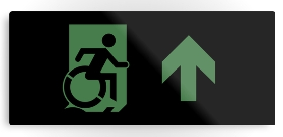 Accessible Means of Egress Icon Exit Sign Wheelchair Wheelie Running Man Symbol by Lee Wilson PWD Disability Emergency Evacuation Metal Printed 70