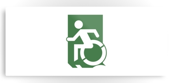 Accessible Means of Egress Icon Exit Sign Wheelchair Wheelie Running Man Symbol by Lee Wilson PWD Disability Emergency Evacuation Metal Printed 71