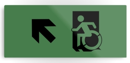 Accessible Means of Egress Icon Exit Sign Wheelchair Wheelie Running Man Symbol by Lee Wilson PWD Disability Emergency Evacuation Metal Printed 72