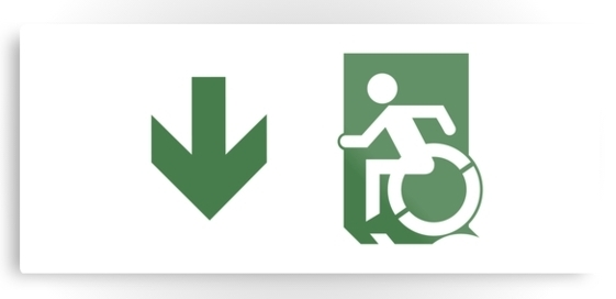 Accessible Means of Egress Icon Exit Sign Wheelchair Wheelie Running Man Symbol by Lee Wilson PWD Disability Emergency Evacuation Metal Printed 73