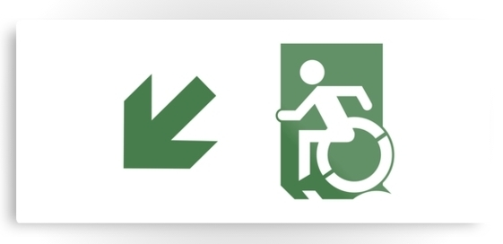 Accessible Means of Egress Icon Exit Sign Wheelchair Wheelie Running Man Symbol by Lee Wilson PWD Disability Emergency Evacuation Metal Printed 74