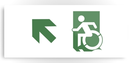 Accessible Means of Egress Icon Exit Sign Wheelchair Wheelie Running Man Symbol by Lee Wilson PWD Disability Emergency Evacuation Metal Printed 75