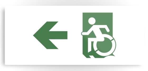 Accessible Means of Egress Icon Exit Sign Wheelchair Wheelie Running Man Symbol by Lee Wilson PWD Disability Emergency Evacuation Metal Printed 76