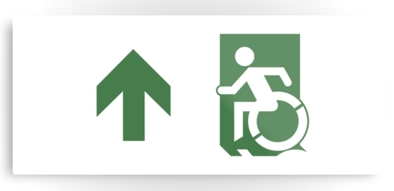 Accessible Means of Egress Icon Exit Sign Wheelchair Wheelie Running Man Symbol by Lee Wilson PWD Disability Emergency Evacuation Metal Printed 77