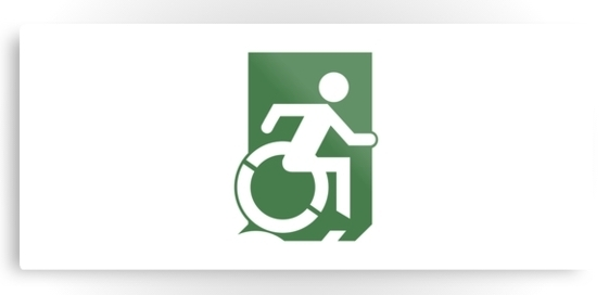 Accessible Means of Egress Icon Exit Sign Wheelchair Wheelie Running Man Symbol by Lee Wilson PWD Disability Emergency Evacuation Metal Printed 78