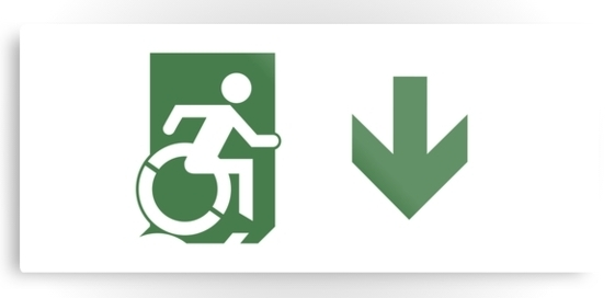 Accessible Means of Egress Icon Exit Sign Wheelchair Wheelie Running Man Symbol by Lee Wilson PWD Disability Emergency Evacuation Metal Printed 79