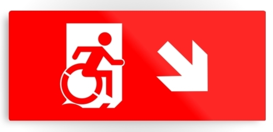 Accessible Means of Egress Icon Exit Sign Wheelchair Wheelie Running Man Symbol by Lee Wilson PWD Disability Emergency Evacuation Metal Printed 8