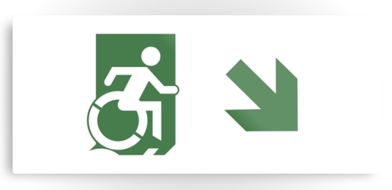 Accessible Means of Egress Icon Exit Sign Wheelchair Wheelie Running Man Symbol by Lee Wilson PWD Disability Emergency Evacuation Metal Printed 80