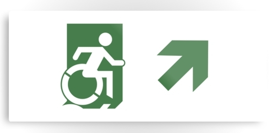 Accessible Means of Egress Icon Exit Sign Wheelchair Wheelie Running Man Symbol by Lee Wilson PWD Disability Emergency Evacuation Metal Printed 81