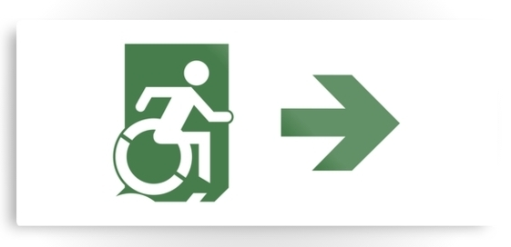 Accessible Means of Egress Icon Exit Sign Wheelchair Wheelie Running Man Symbol by Lee Wilson PWD Disability Emergency Evacuation Metal Printed 82