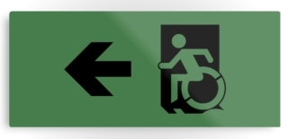 Accessible Means of Egress Icon Exit Sign Wheelchair Wheelie Running Man Symbol by Lee Wilson PWD Disability Emergency Evacuation Metal Printed 83