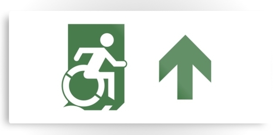 Accessible Means of Egress Icon Exit Sign Wheelchair Wheelie Running Man Symbol by Lee Wilson PWD Disability Emergency Evacuation Metal Printed 84