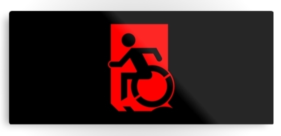 Accessible Means of Egress Icon Exit Sign Wheelchair Wheelie Running Man Symbol by Lee Wilson PWD Disability Emergency Evacuation Metal Printed 85