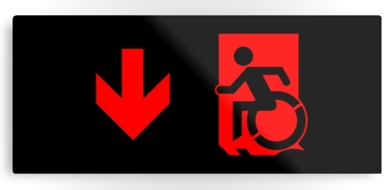 Accessible Means of Egress Icon Exit Sign Wheelchair Wheelie Running Man Symbol by Lee Wilson PWD Disability Emergency Evacuation Metal Printed 86