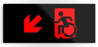 Accessible Means of Egress Icon Exit Sign Wheelchair Wheelie Running Man Symbol by Lee Wilson PWD Disability Emergency Evacuation Metal Printed 87