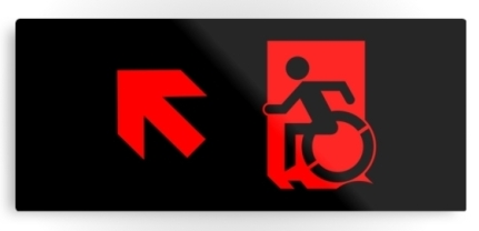 Accessible Means of Egress Icon Exit Sign Wheelchair Wheelie Running Man Symbol by Lee Wilson PWD Disability Emergency Evacuation Metal Printed 88