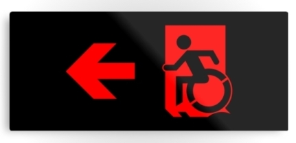 Accessible Means of Egress Icon Exit Sign Wheelchair Wheelie Running Man Symbol by Lee Wilson PWD Disability Emergency Evacuation Metal Printed 89