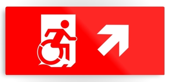 Accessible Means of Egress Icon Exit Sign Wheelchair Wheelie Running Man Symbol by Lee Wilson PWD Disability Emergency Evacuation Metal Printed 9