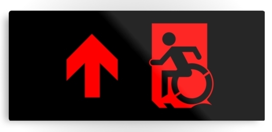 Accessible Means of Egress Icon Exit Sign Wheelchair Wheelie Running Man Symbol by Lee Wilson PWD Disability Emergency Evacuation Metal Printed 90