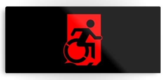 Accessible Means of Egress Icon Exit Sign Wheelchair Wheelie Running Man Symbol by Lee Wilson PWD Disability Emergency Evacuation Metal Printed 91