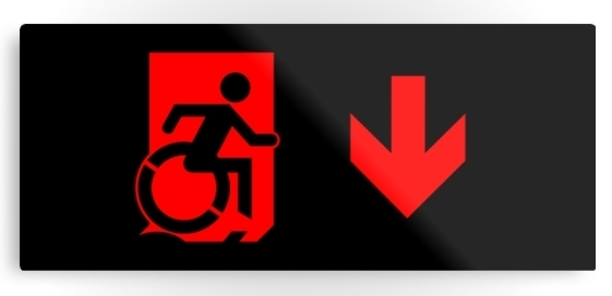 Accessible Means of Egress Icon Exit Sign Wheelchair Wheelie Running Man Symbol by Lee Wilson PWD Disability Emergency Evacuation Metal Printed 92