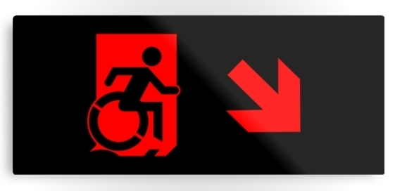 Accessible Means of Egress Icon Exit Sign Wheelchair Wheelie Running Man Symbol by Lee Wilson PWD Disability Emergency Evacuation Metal Printed 93