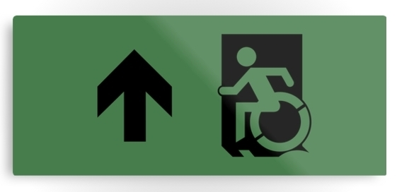 Accessible Means of Egress Icon Exit Sign Wheelchair Wheelie Running Man Symbol by Lee Wilson PWD Disability Emergency Evacuation Metal Printed 94