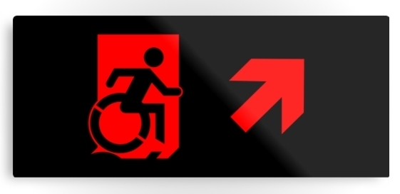 Accessible Means of Egress Icon Exit Sign Wheelchair Wheelie Running Man Symbol by Lee Wilson PWD Disability Emergency Evacuation Metal Printed 95