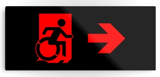 Accessible Means of Egress Icon Exit Sign Wheelchair Wheelie Running Man Symbol by Lee Wilson PWD Disability Emergency Evacuation Metal Printed 96