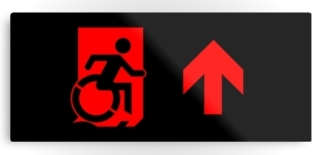 Accessible Means of Egress Icon Exit Sign Wheelchair Wheelie Running Man Symbol by Lee Wilson PWD Disability Emergency Evacuation Metal Printed 97