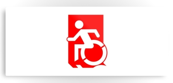 Accessible Means of Egress Icon Exit Sign Wheelchair Wheelie Running Man Symbol by Lee Wilson PWD Disability Emergency Evacuation Metal Printed 98