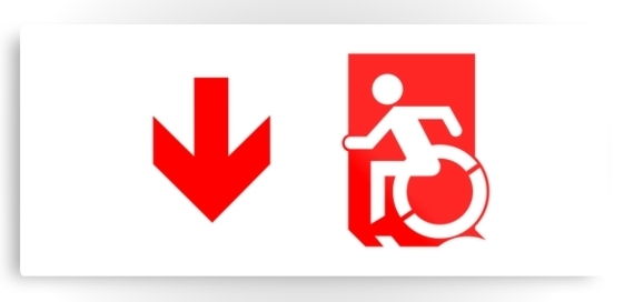 Accessible Means of Egress Icon Exit Sign Wheelchair Wheelie Running Man Symbol by Lee Wilson PWD Disability Emergency Evacuation Metal Printed 99