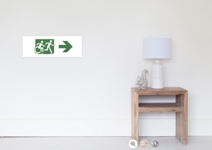 Accessible Means of Egress Icon Exit Sign Wheelchair Wheelie Running Man Symbol by Lee Wilson PWD Disability Emergency Evacuation Poster 100