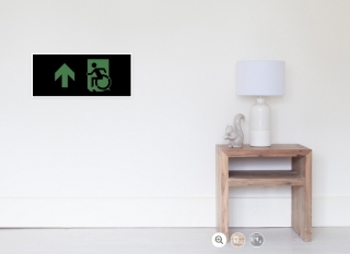 Accessible Means of Egress Icon Exit Sign Wheelchair Wheelie Running Man Symbol by Lee Wilson PWD Disability Emergency Evacuation Poster 104