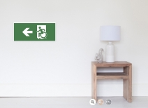 Accessible Means of Egress Icon Exit Sign Wheelchair Wheelie Running Man Symbol by Lee Wilson PWD Disability Emergency Evacuation Poster 105
