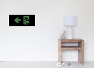 Accessible Means of Egress Icon Exit Sign Wheelchair Wheelie Running Man Symbol by Lee Wilson PWD Disability Emergency Evacuation Poster 106