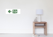 Accessible Means of Egress Icon Exit Sign Wheelchair Wheelie Running Man Symbol by Lee Wilson PWD Disability Emergency Evacuation Poster 107