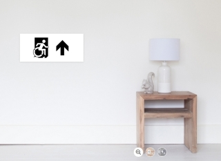 Accessible Means of Egress Icon Exit Sign Wheelchair Wheelie Running Man Symbol by Lee Wilson PWD Disability Emergency Evacuation Poster 111