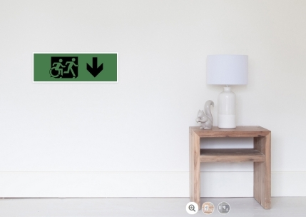Accessible Means of Egress Icon Exit Sign Wheelchair Wheelie Running Man Symbol by Lee Wilson PWD Disability Emergency Evacuation Poster 117