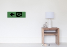 Accessible Means of Egress Icon Exit Sign Wheelchair Wheelie Running Man Symbol by Lee Wilson PWD Disability Emergency Evacuation Poster 120
